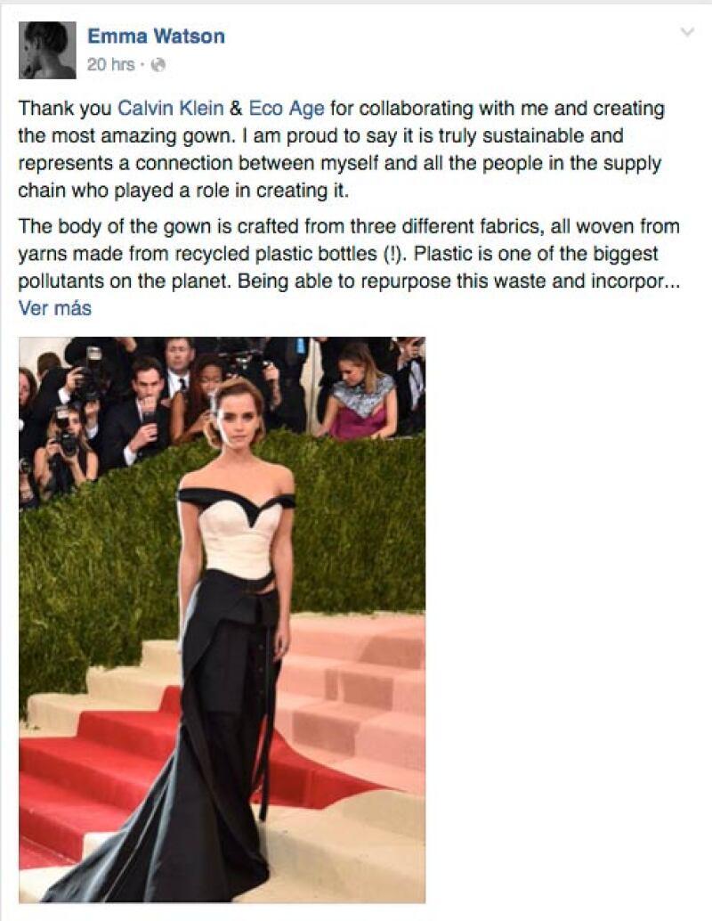 La actriz británica agradeció a Calvin Klein por haberle hecho su vestido.