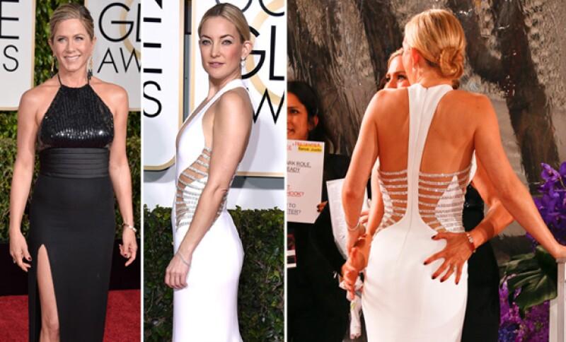 La sensualidad de Kate Hudson conquistó a Jennifer Aniston quien no resistió y tocó su trasero, provocando una reacción de sorpresa en su amiga actriz.