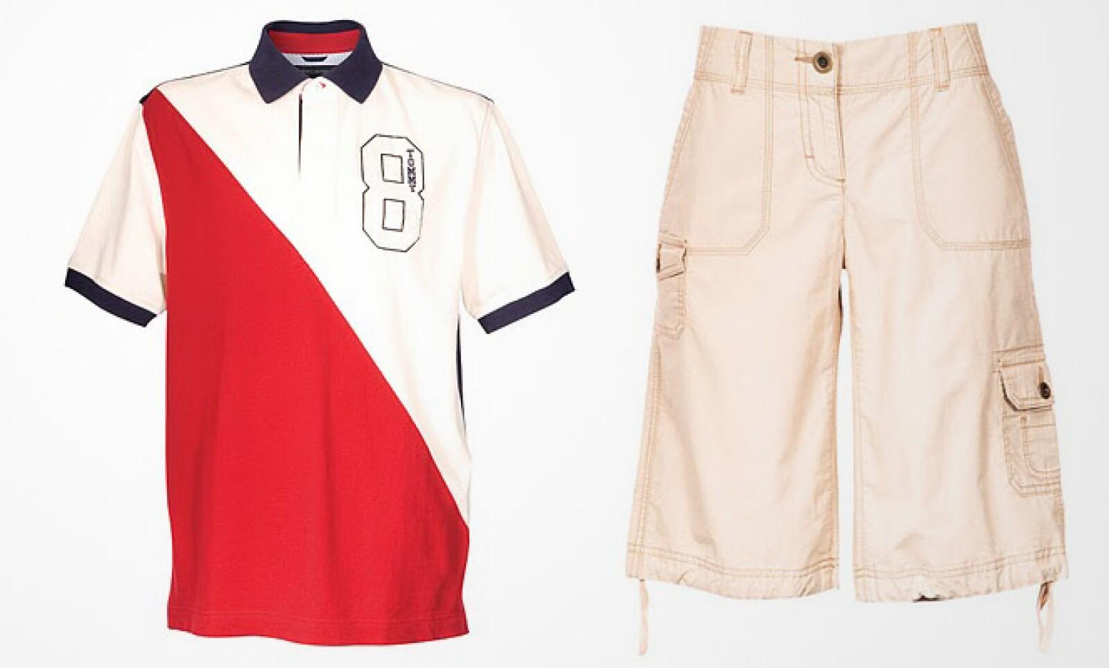 Una combinación lista para adaptarse al clima, con una playera tipo polo de algodón y bermudas caqui.