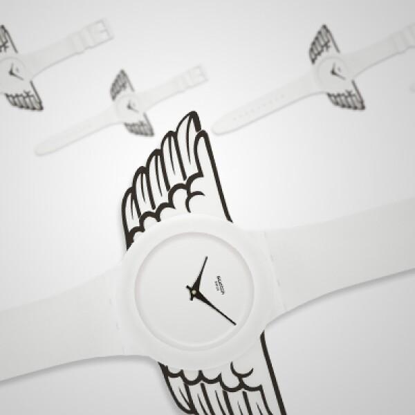 La firma suiza presentó su nueva colección 'Art, Fashion & Sport', con relojes creados por distintos personajes del diseño, la moda y el deporte.  En esta primera imagen, el modelo 'Winged Swatch', del diseñador estadounidense Jeremy Scott.