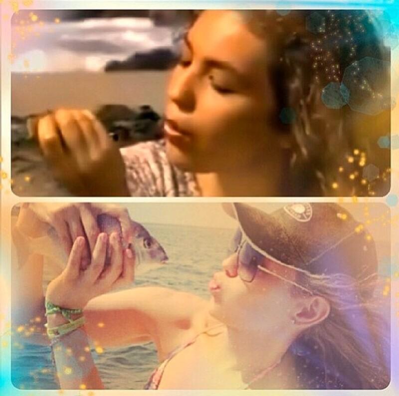 La cantante y actriz subió un par de fotos a su cuenta de Instagram donde se aprecia disfrutando del mar a bordo de un yate, además aprovechó para pescar.
