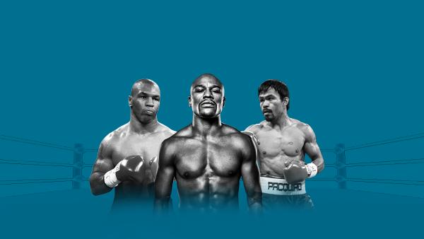Algunos de los encuentros de Floyd Mayweather Jr., Manny Pacquiao y Mike Tyson encabezan las peleas con más ganancias en la historia de ese deporte.