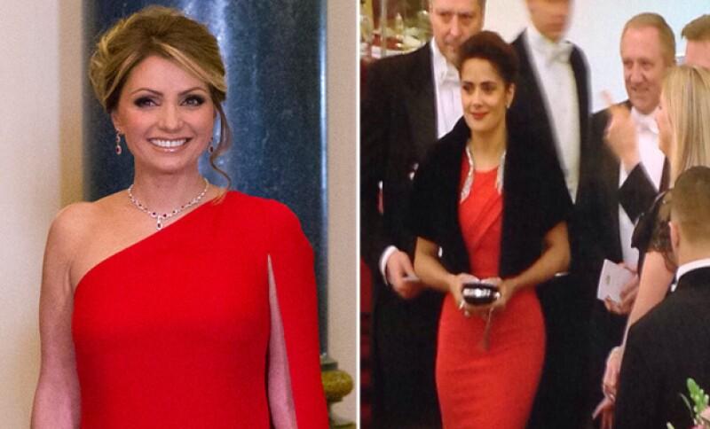 Ambas de rojo, acudieron a la cena ofrecida por la Casa Real británica en el palacio de Buckingham en el marco de la visita de la pareja presidencial mexicana al Reino Unido.