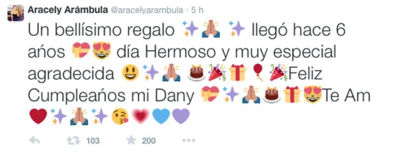 Emocionada, Aracely compartió un mensaje en Twitter para felicitar a su hijo Daniel por sus seis años.