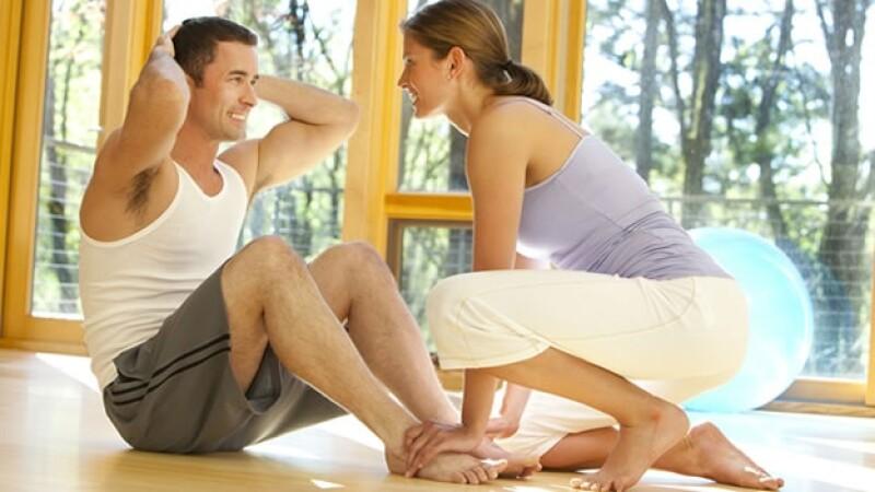 Ejercicio, rutina, pareja, entrenamiento, fitness