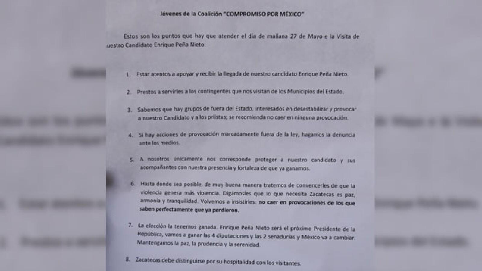 Simpatizantes de peña nieto repartieron un manual sobre los lineamientos que deberían seguir en su visita a zacatecas