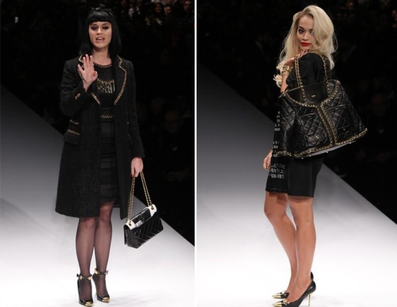 Katy y Rita modelaron las nuevas creaciones de Jeremy Scott para Moschino.