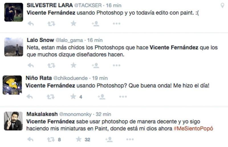 Algunos de los tuits que han brotado en Twitter debido a las imágenes que Vicente Fernández editó con Photoshop.