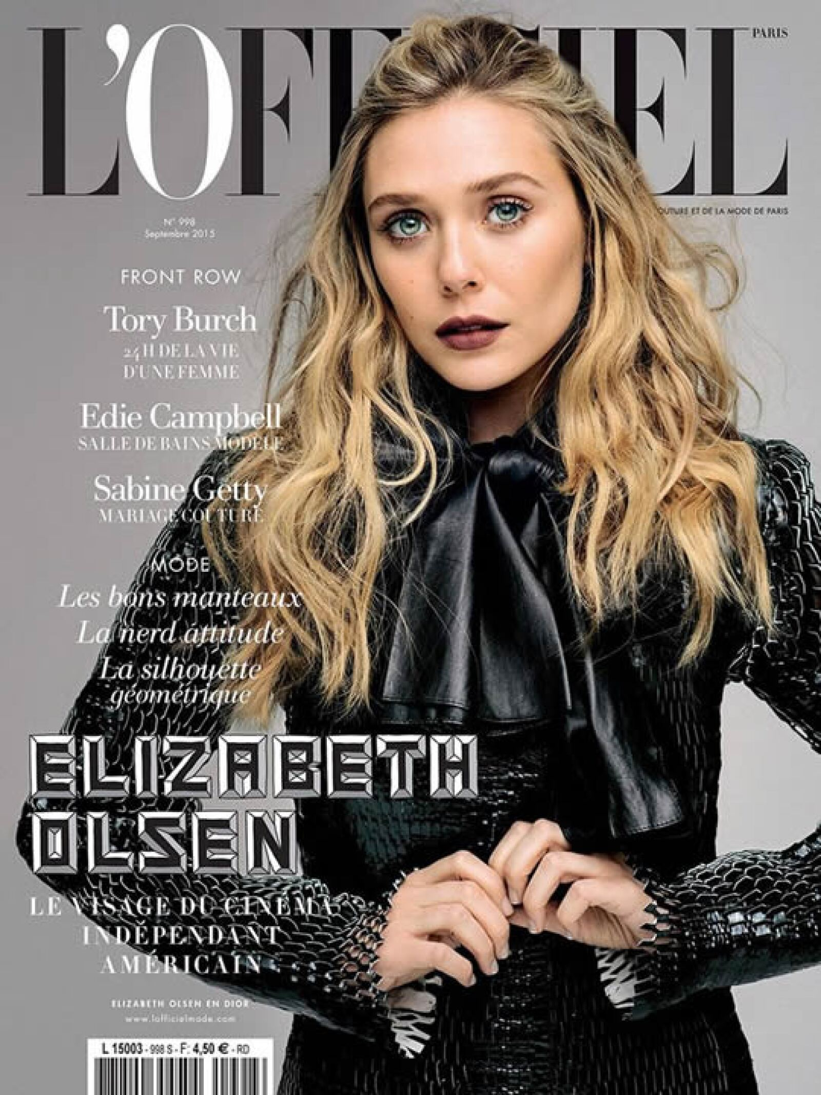L`Officiel Paris: Elizabeth Olsen aparece de impacto con un look total de Dior fall 2015.