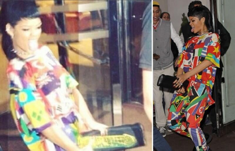 La cantante sorprendió a sus fanáticos a las afueras del un hotel en Londres con movimientos explicitamentes sexuales, complementados por un bolso con una imagen fálica.