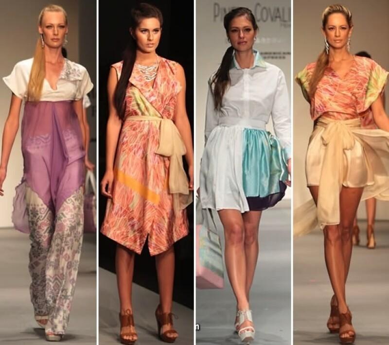 Pineda Covalín se mantuvo fiel a su estilo, y mostró diseños vaporosos en colores claros, perfectos para la playa.