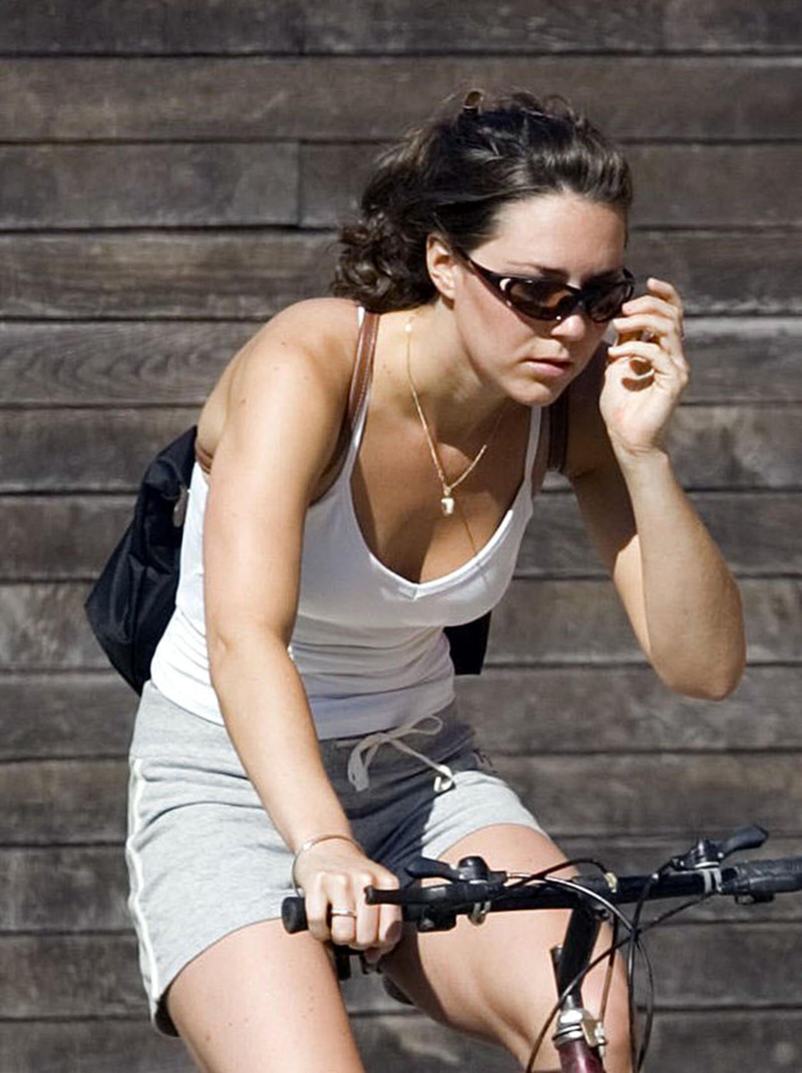 KATE MIDDLETON CYCLING NEAR BUCKLEBURY, BRITAIN - 12 JUL 2005
