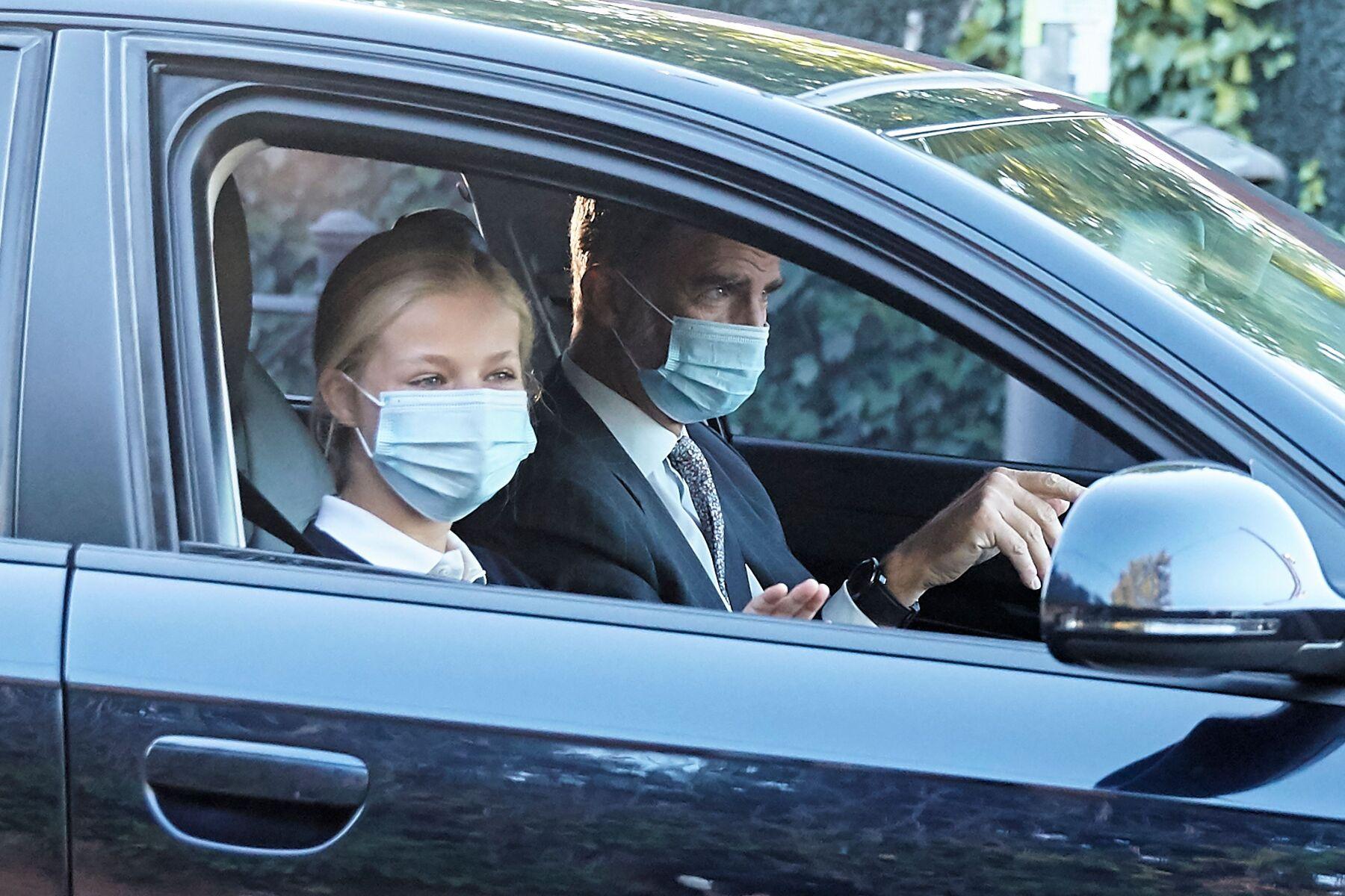 King Felipe VI and Princess Leonor arrive at 'Santa Maria de los Rosales' school, Madrid, Spain - 09 Sep 2020
