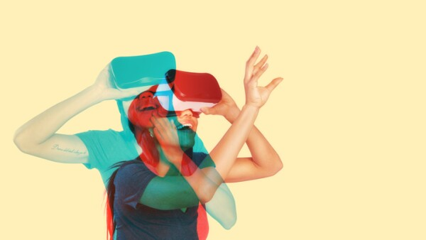 Young woman inside virtual reality