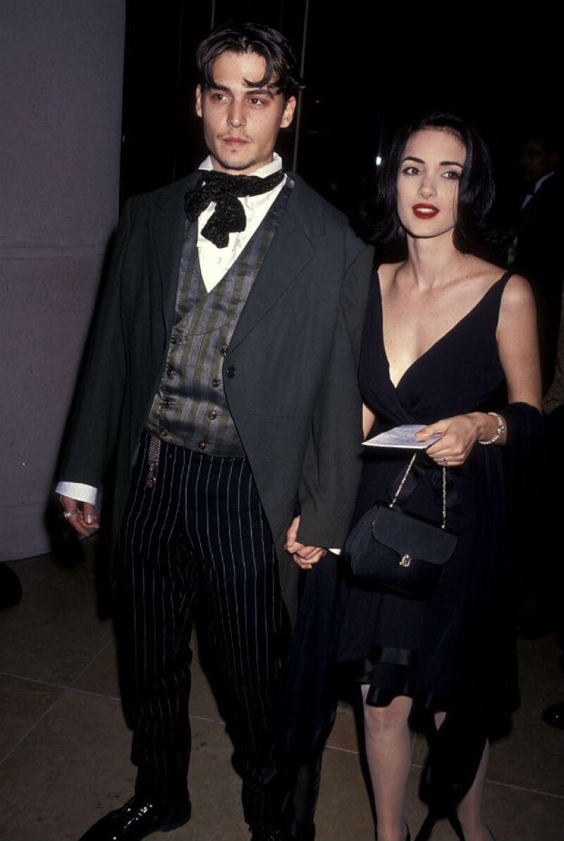 Johnny y Winona a su llegada a los Golden Globes de 1991.