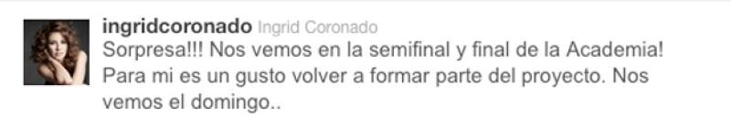 Este fue el tuit que publicó la atractiva conductora en el que anuncia su regreso como conductora del reality show.