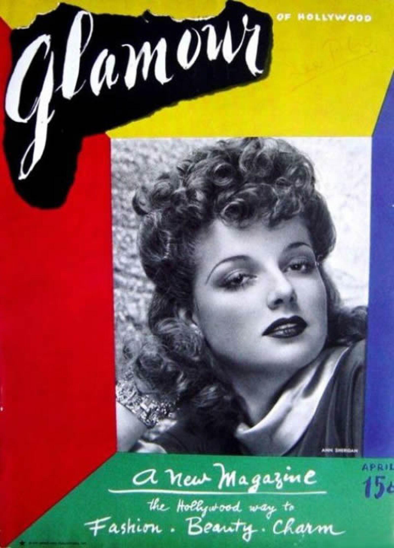 Glamour, abril 1939: Esta fue la primera edición de la revista Glamour, donde Ann Sheridan fue la portada.