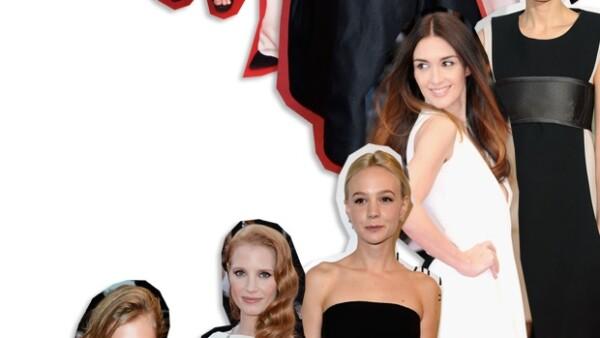 Carey Mulligan, Rooney Mara Paz Vega, Cindy Crawford, Joan Smalls, Cara Delevingne, Zoe Saldana, Jessica Chastain, Jennifer Lawrence y Samantha Barks han impuesto en Cannes la moda a blanco y negro.