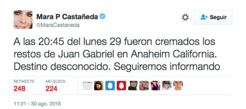 Este es el mensaje que la periodista Mara Patricia Castañeda publicó en Twitter.