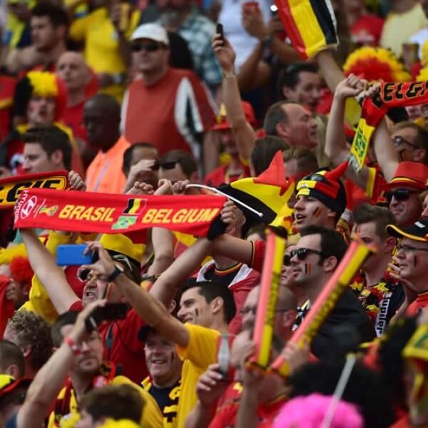La afición de Bélgica mostró desde antes de arrancar el partido su apoyo a los 'Diablos Rojos'