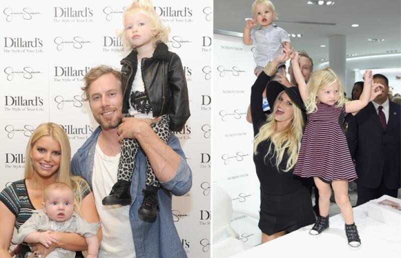 Jessica Simpson combina en su hija prendas clásicas con motivos rockeros.