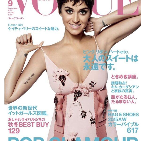 Vogue Japan eligió a la cantante como cover girl. Katy lleva un vestido Prada de la colección otoño-invierno 2015.