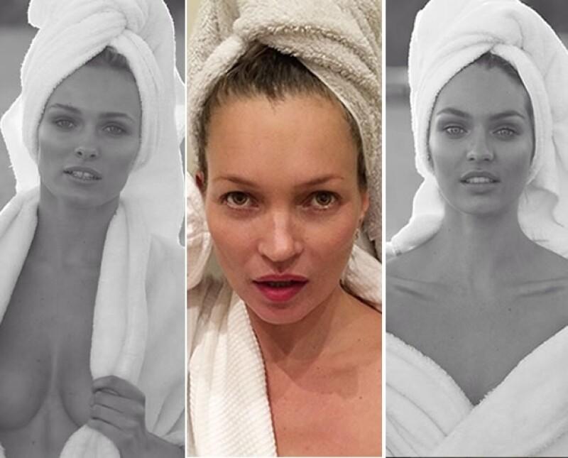 Kate Moss (centro) fue la primera en posar para la `Towel Series´.