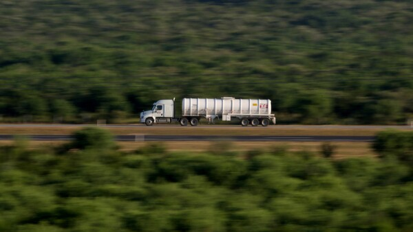 A tanker truck is seen near Mexican state oil firm Pemex's Cadereyta refinery, in Cadereyta