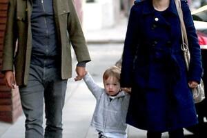 Con Dolores Fonzi y el pequeño Lázaro.