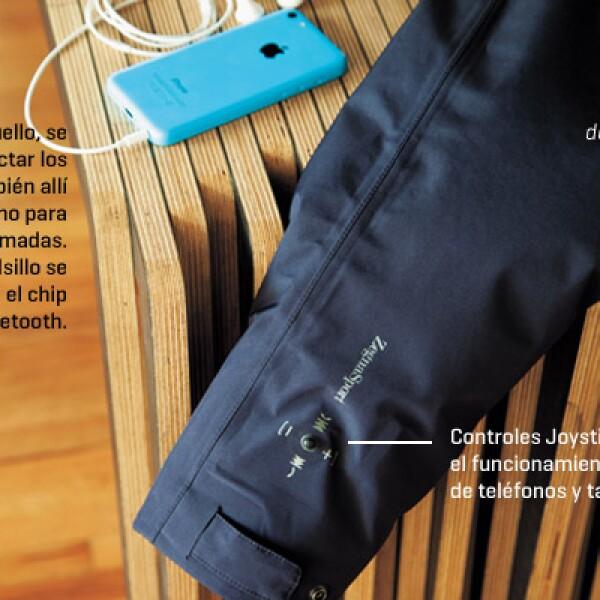 """Los """"smart textiles"""" son prendas con sensores y componentes microelectrónicos como mp3, dispositivos de medición de datos, efectos lumínicos. Un ejemplo es la chamarra Icon, de Zegna Sport es resistente al agua, trae controles Joystick y Bluetooth, que pe"""