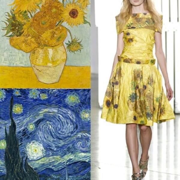 Con siluetas de estilo femenino con reminiscencia a los años 50, las hermanas Mullavy de Rodarte tomaron al post impresionista Van Gogh como inspiración para su colección Primavera-Verano 2012.