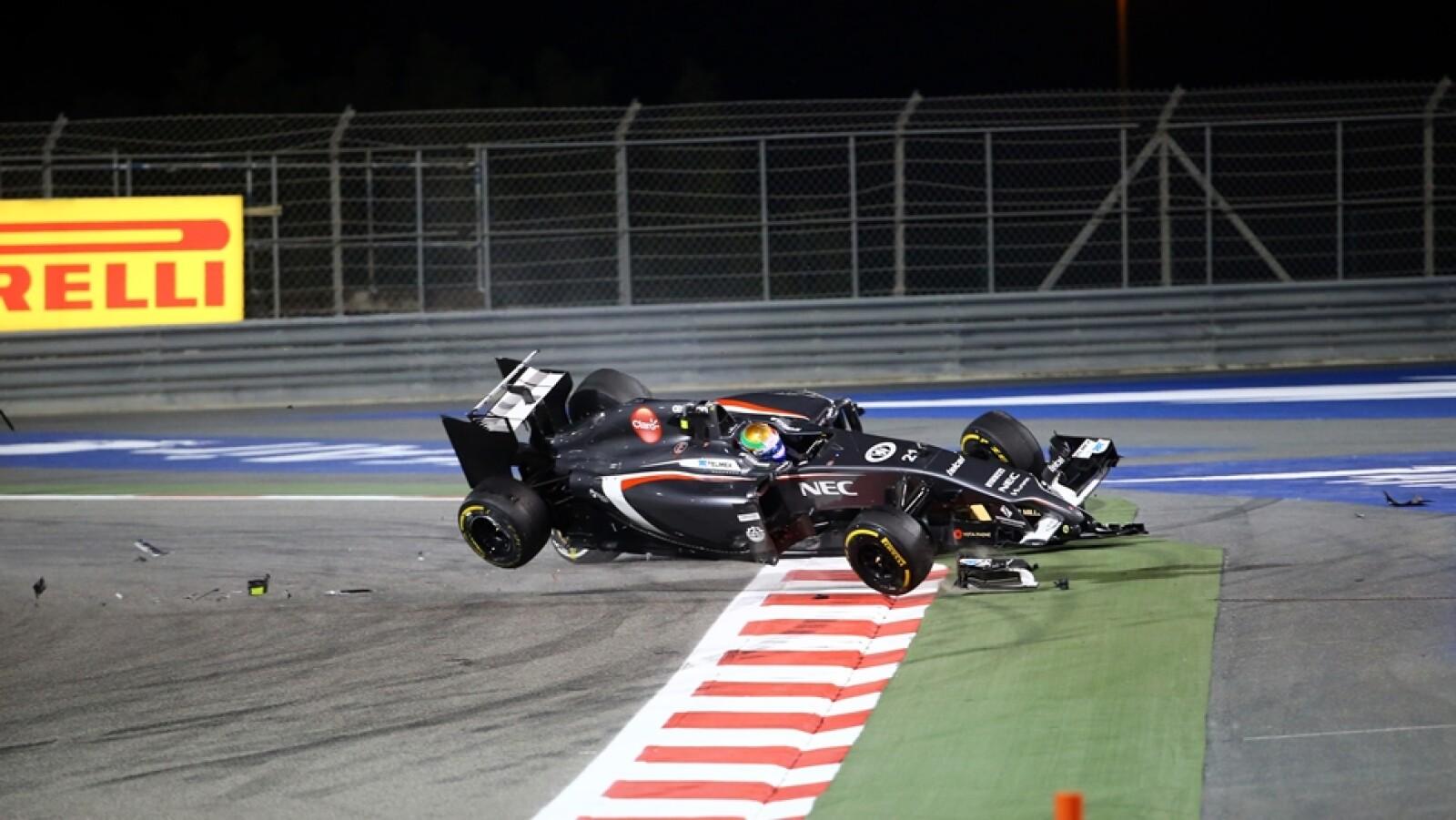 El piloto mexicano de Sauber Esteban Gutiérrez tuvo un accidente