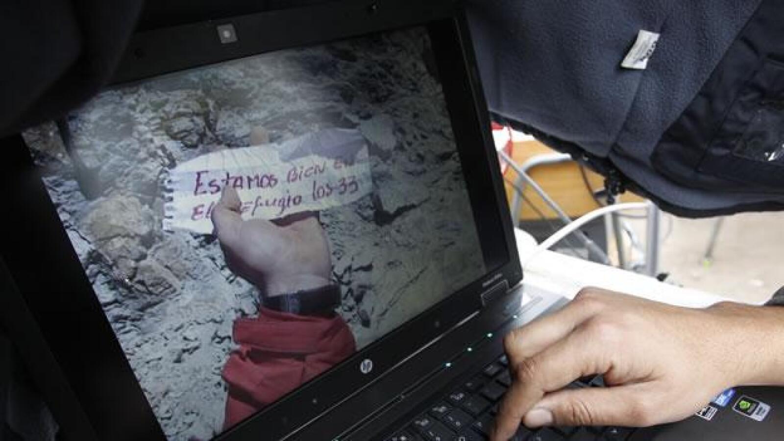 Foto del mensaje enviado por mineros chilenos