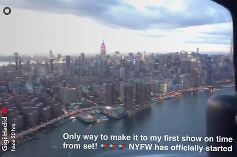 Vista de Nueva York que Gigi apreció desde el helicóptero en el que llegó a su primer desfile.