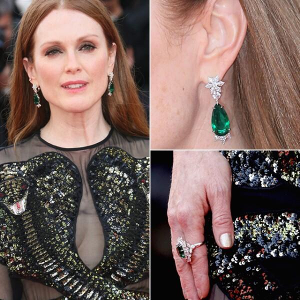 Julianne Moore llegó con unos aretes de esmeraldas de Chopard a la premiere de `Cafe Society´.