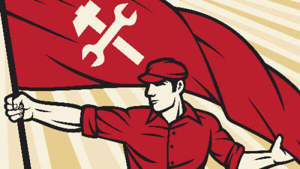 trabajador y bandera