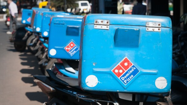 Dominos Pizza delivery bikes, Goa, India