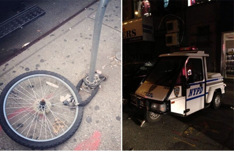 La diseñadora de modas compartió a través de Twitter una imagen en la que vemos la llanta de su bicicleta sujeta a un poste en Nueva York, pero el resto de la bici simplemente no está.