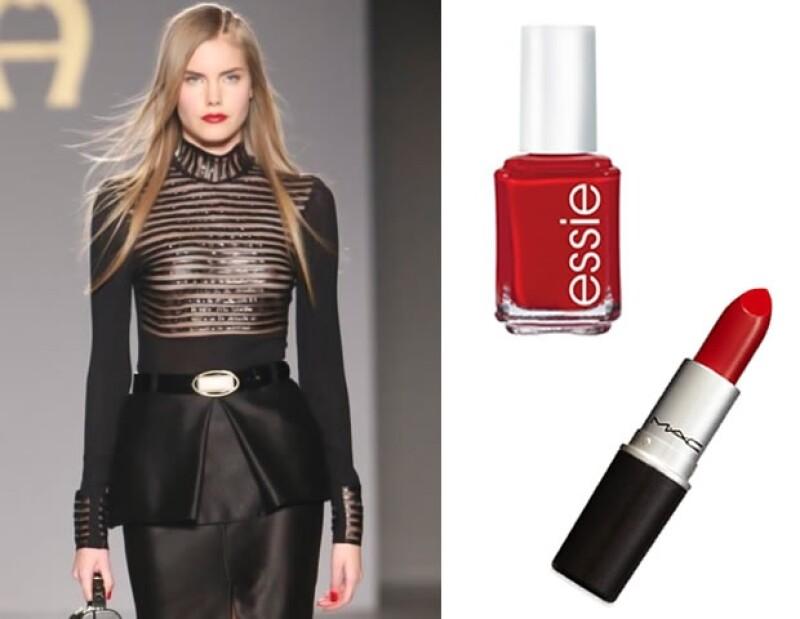 Aigner eligió un look que nunca fallará lipstick y esmalte de uñas en rojo fuego.