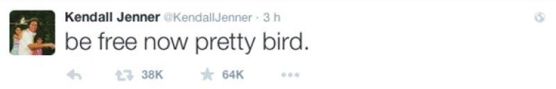 Kendall mostró el apoyo a su papá a través de un tuit y le pidió ser libre.