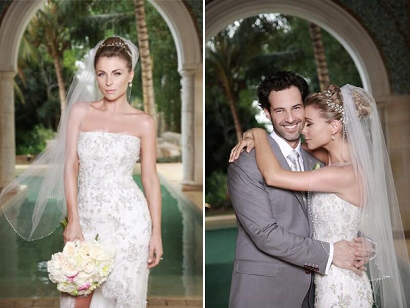 La novia lució espectacular en un vestido con pedrería de flores. (Cortesía: Prensa Danna / Foto: Óscar Ponce)