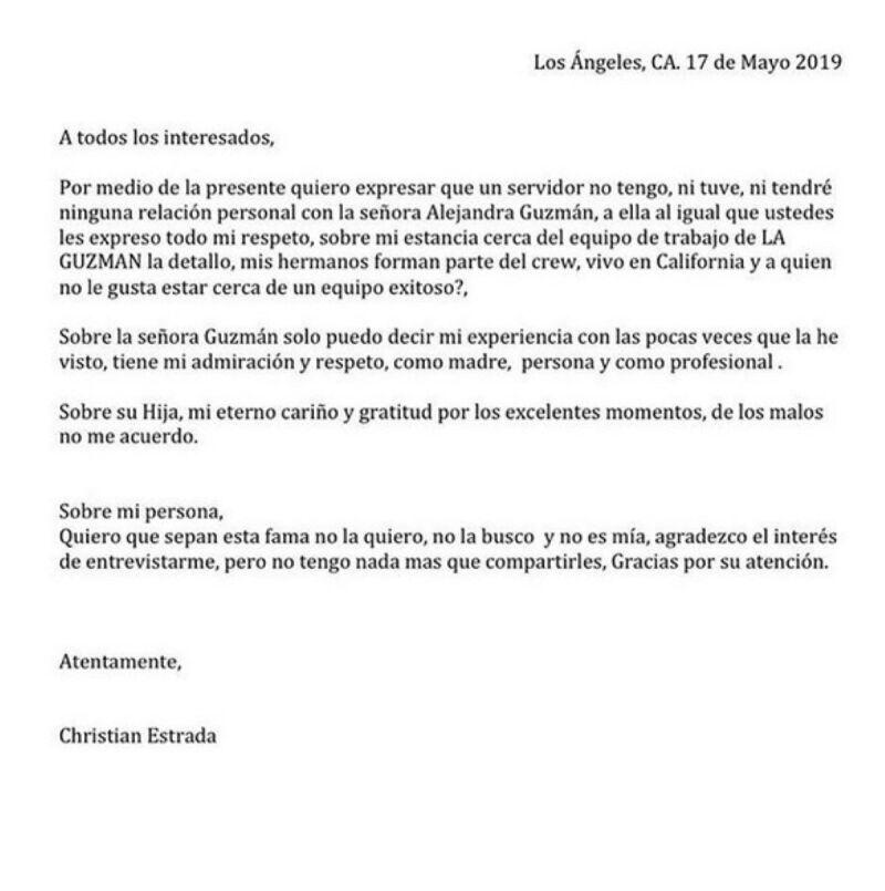 Comunicado Christian Estrada