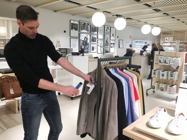 Daniel Claesson, head of new business development and online at H&M, at an H&M test store in Stockholm