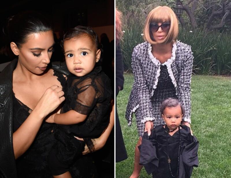 Kim Kardashian y North West como Ana Wintour y Andre Talley de la revista Vogue