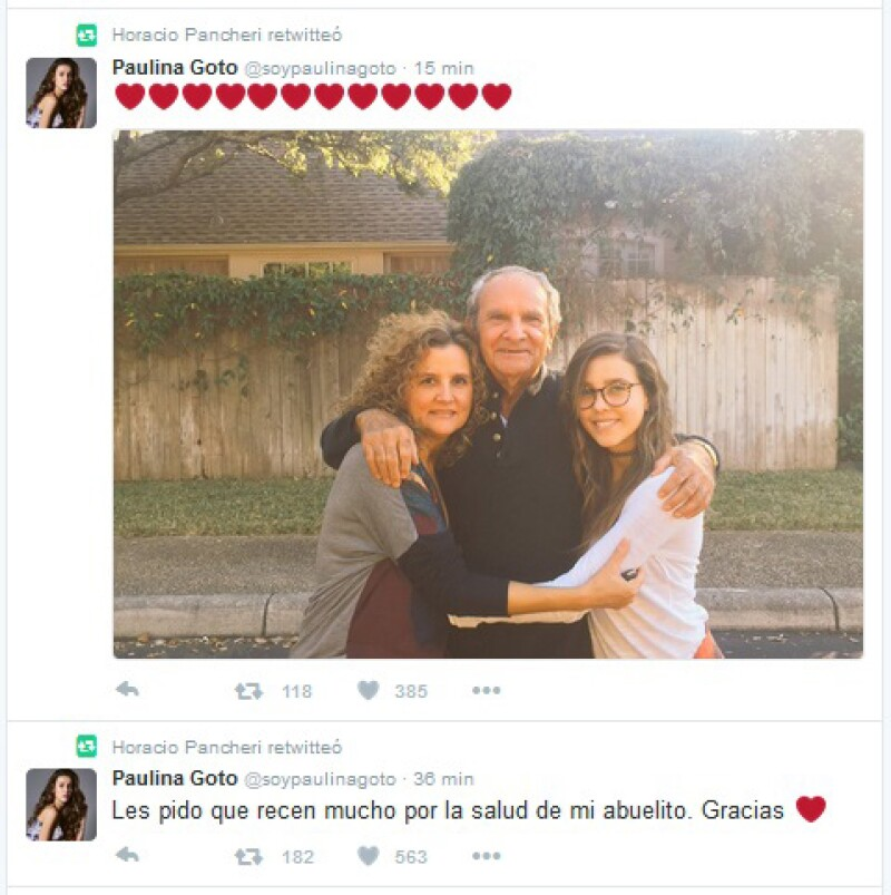 Horacio mostró su apoyo a su novia con un retuit.