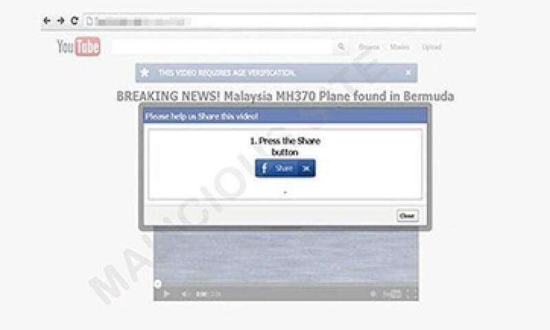 Al dar clic en el enlace descargarás un software malicioso que podría infectar tu computadora. (Foto: Trend Micro/CNNMoney/Cortesía)
