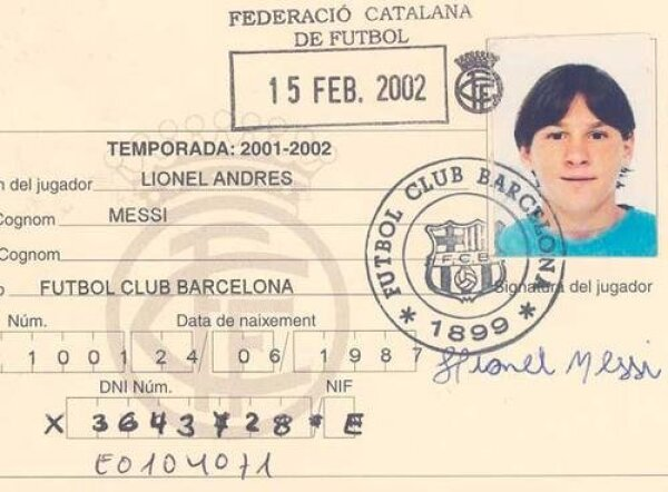 La credencial de Messi