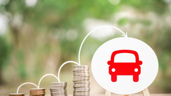 stack of coin or saving money to buy new car ,loan from car concept background