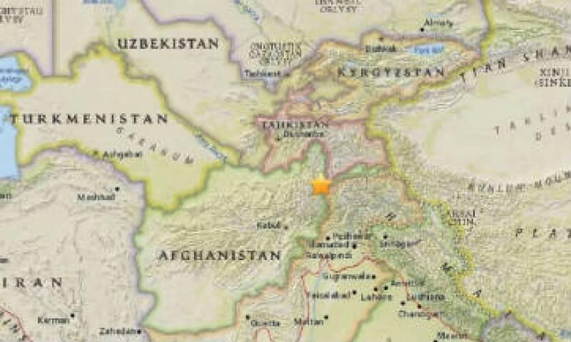 El terremoto se registró en la frontera entre Afghanistan y Tajikistan. (Foto: USGS)