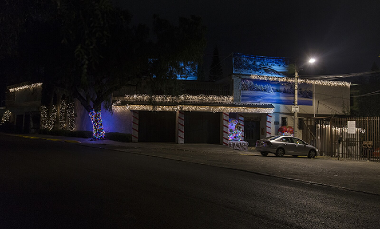 Los árboles en las calles se suman a los techos y fachadas para crear una mejor armonía con las luces navideñas.